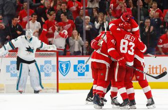 Red Wings return from break with 2-1 shootout win over Sharks