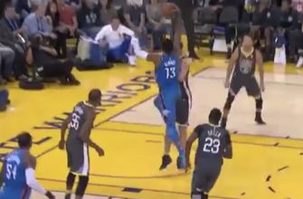 WATCH: Paul George puts Zaza Pachulia on a poster in Thunder blowout win over Warrriors